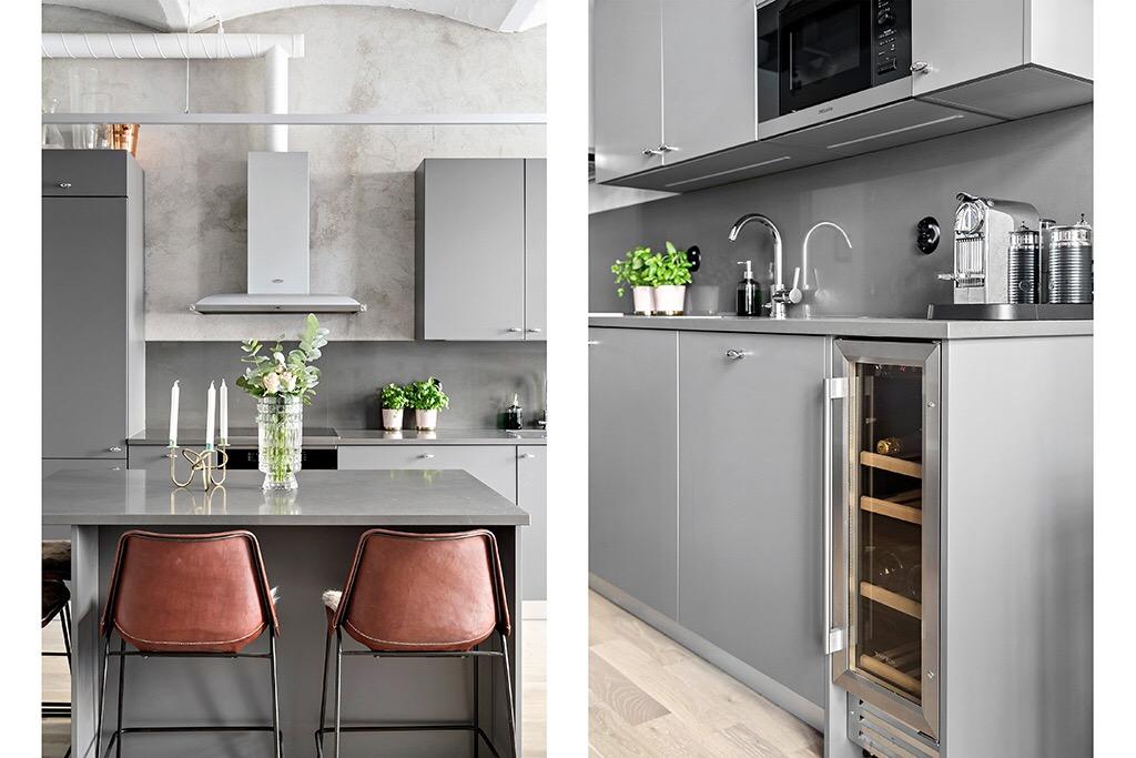 кухонная мебель встроенная техника винный шкаф остров барные стулья