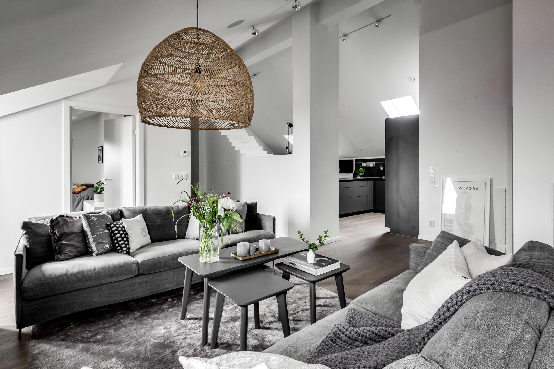мансарда гостиная кухня высокий потолок плетёная лампа корзина