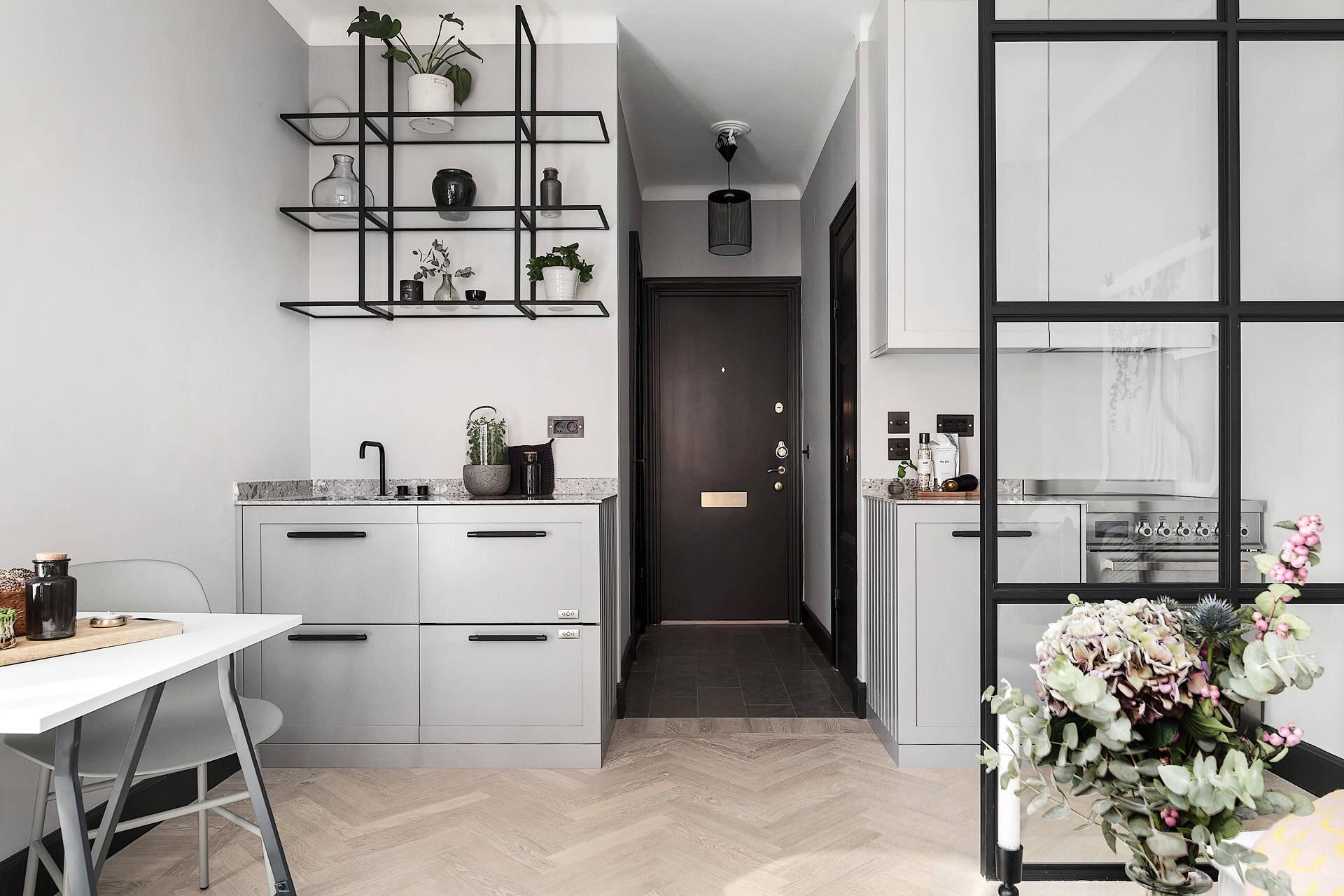 квартира студия кухонная мебель серые фасады полки перегородка коридор входная дверь