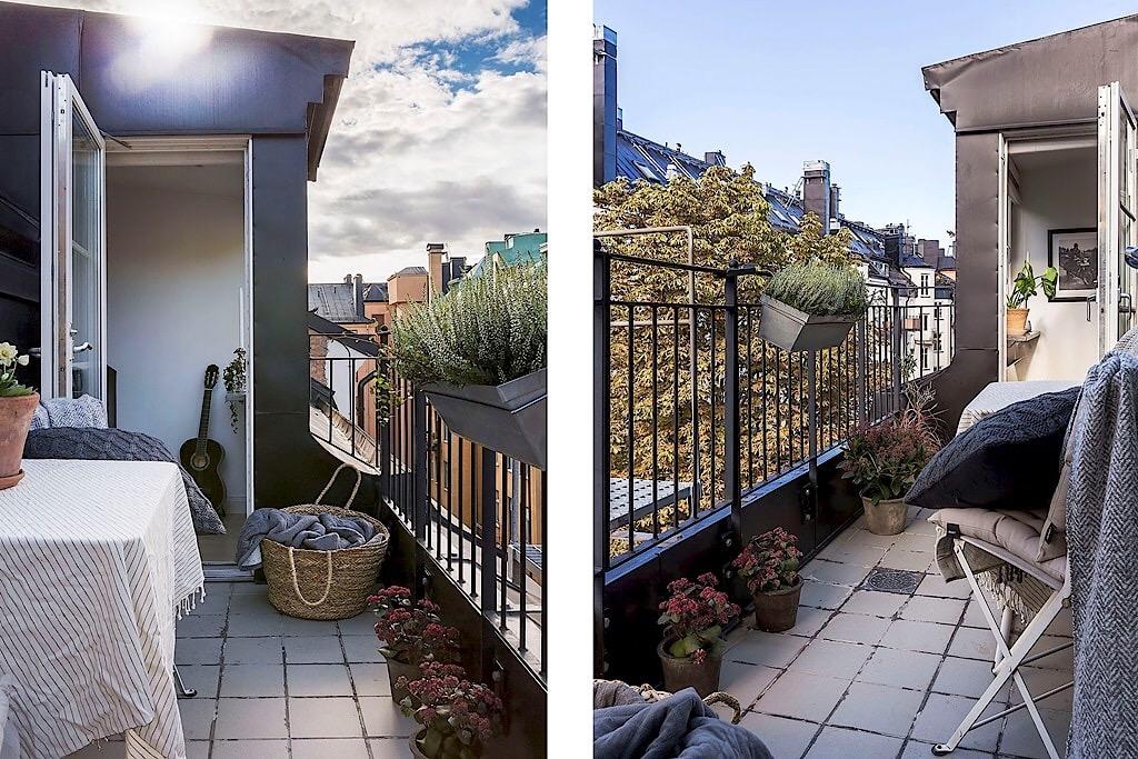 балкон растения корзина уличная мебель текстиль