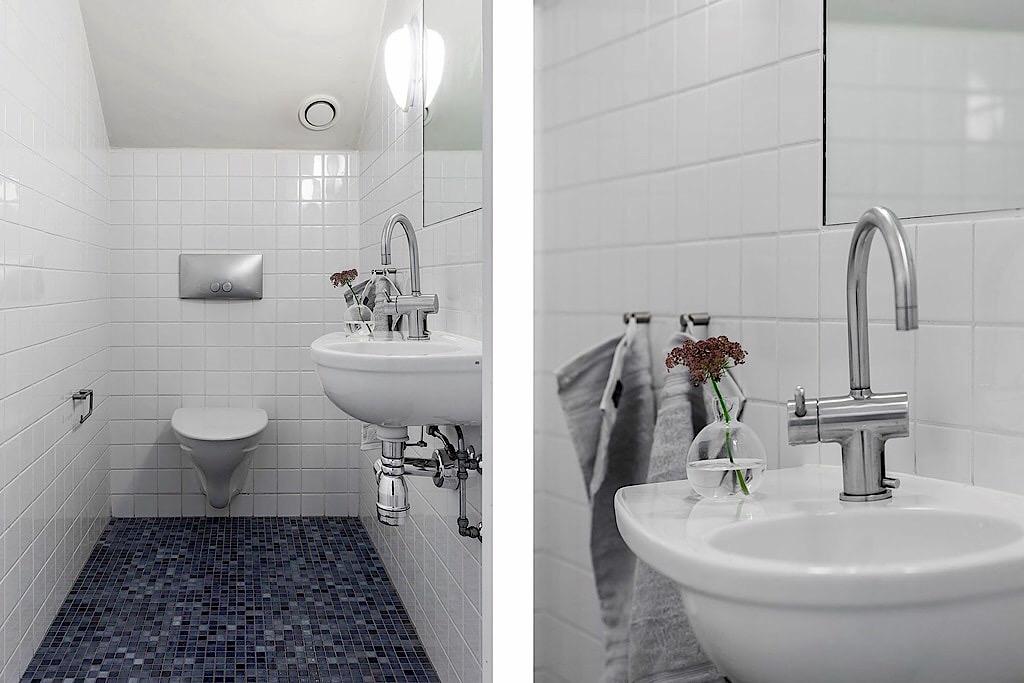 санузел подвесной унитаз раковина смеситель мозаика белая квадратная плитка