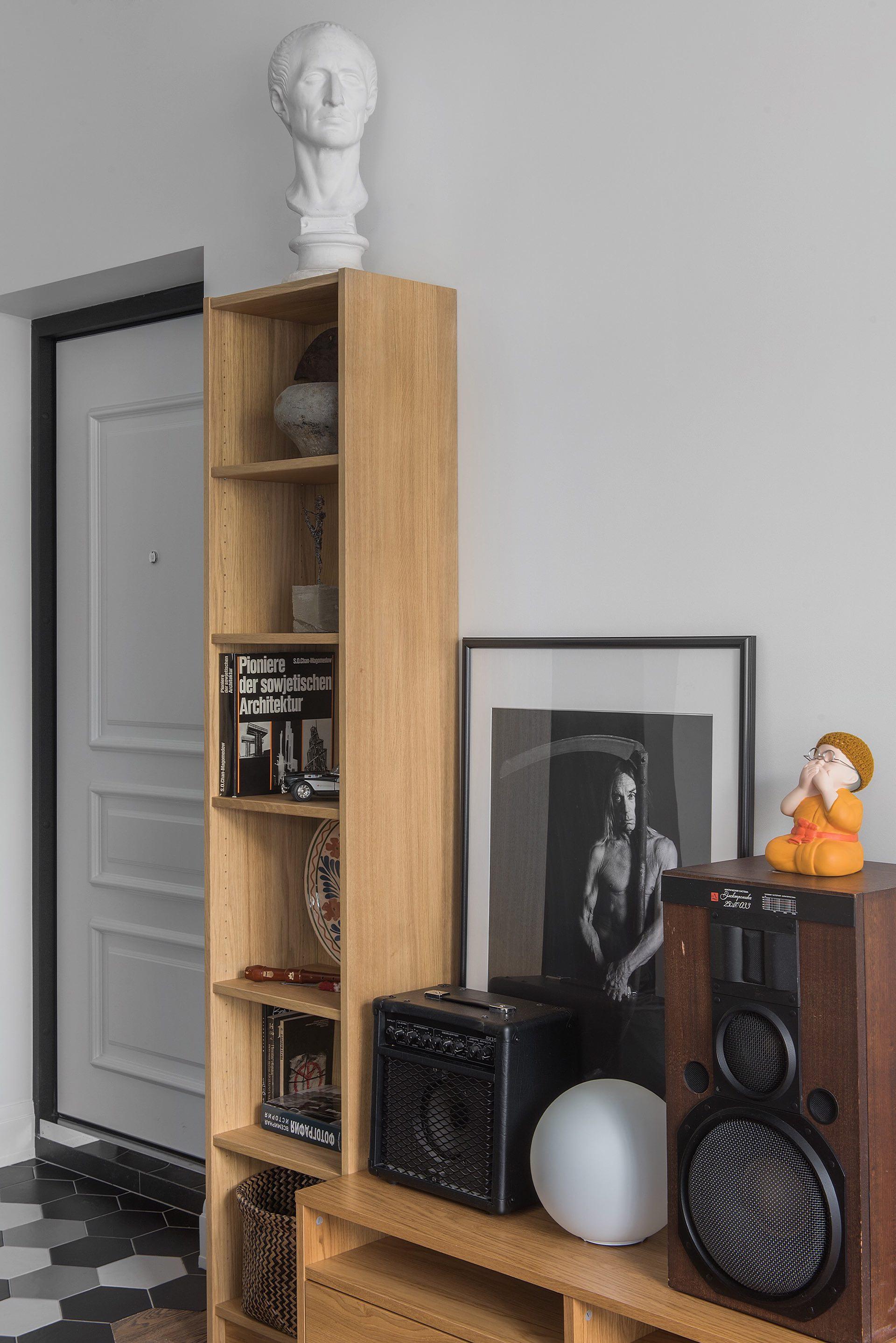входная дверь гостиная стеллаж акустика