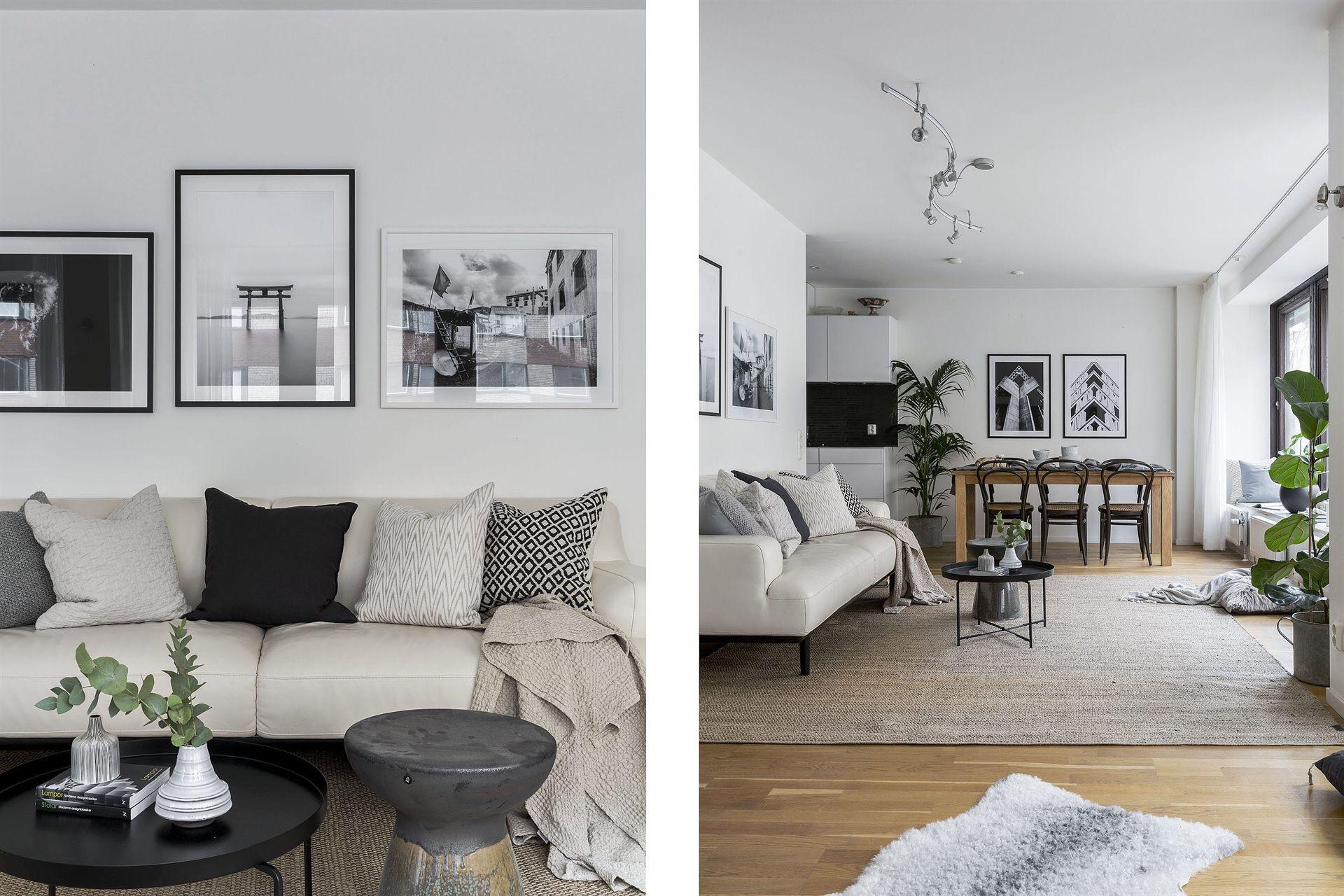 серый диван подушки рамки постеры