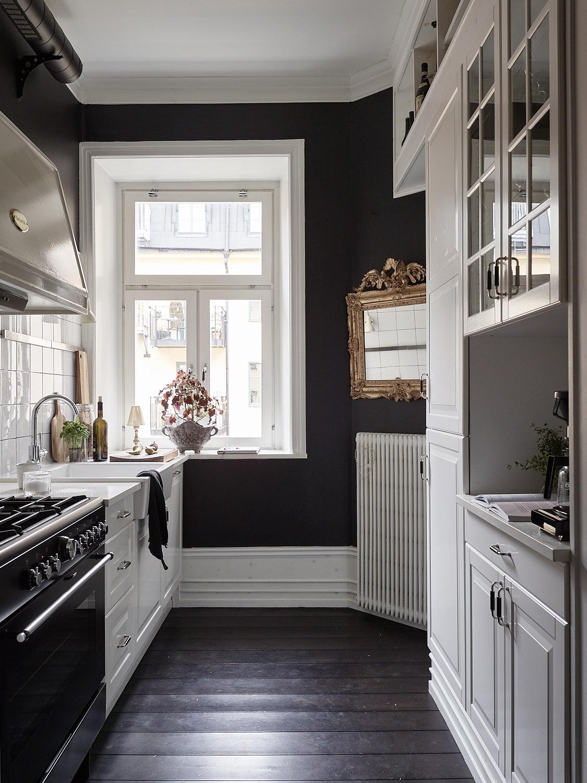 кухня темные стены белые фасады плинтус окно зеркало плита вытяжка купол мойка смеситель