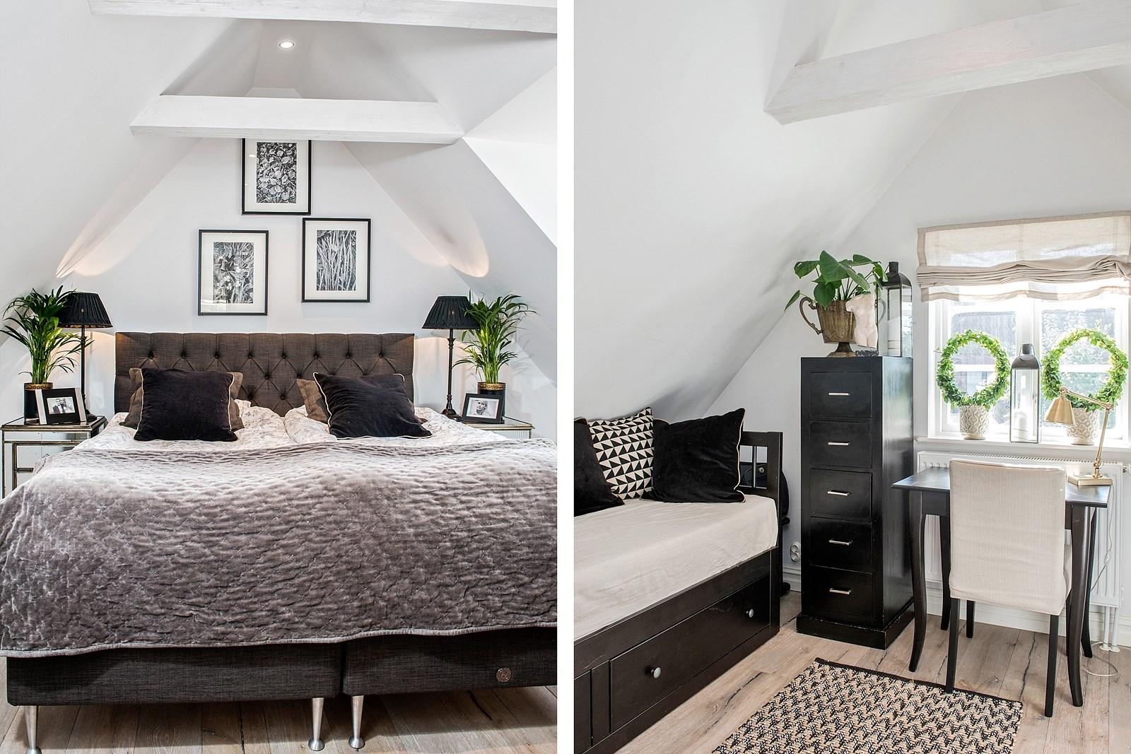 спальня кровать изголовье текстиль подушки прикроватные тумбы лампы мансарда кабинет