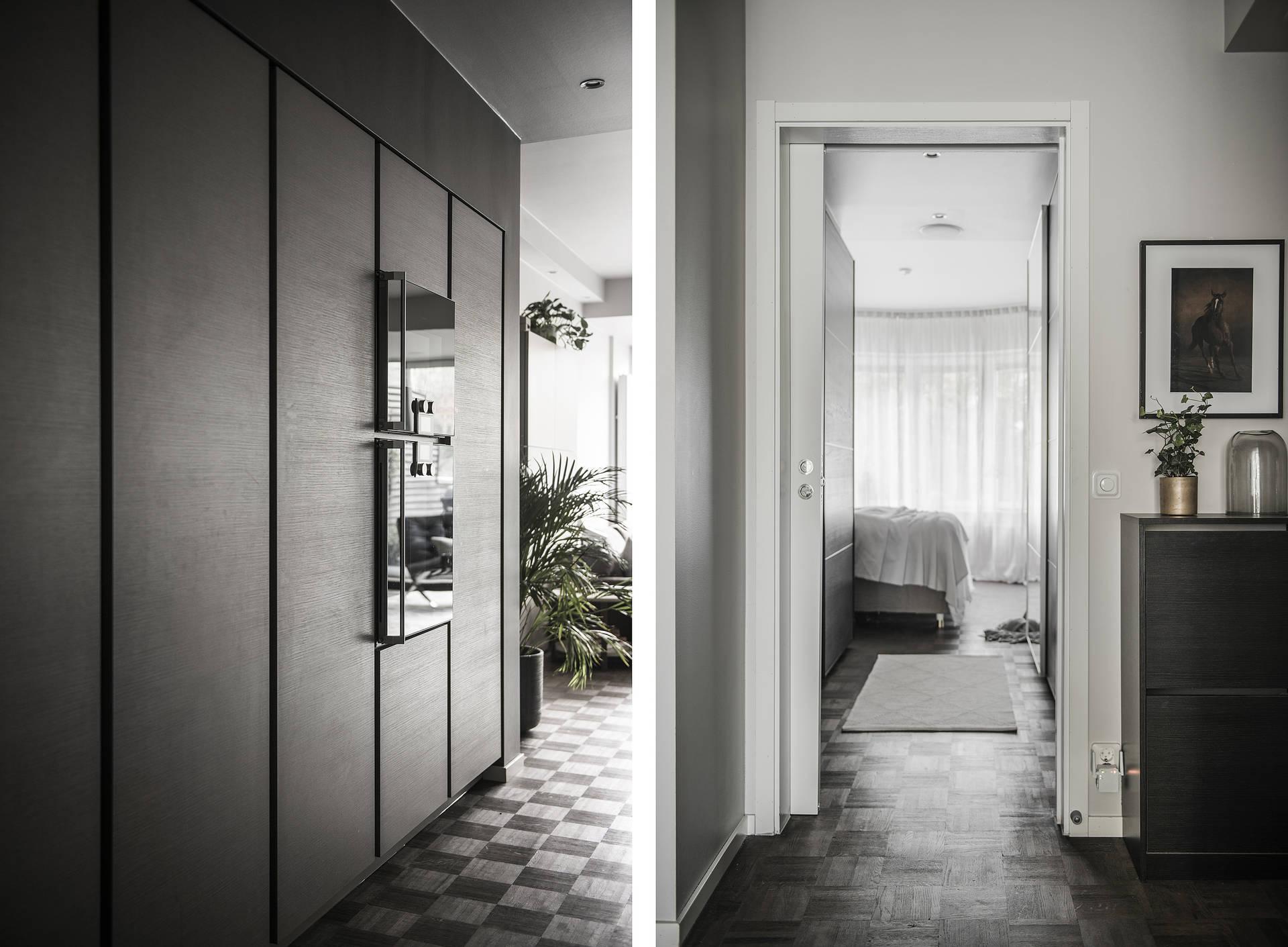 высокие кухонные шкафы Binova коридор дверь в спальню