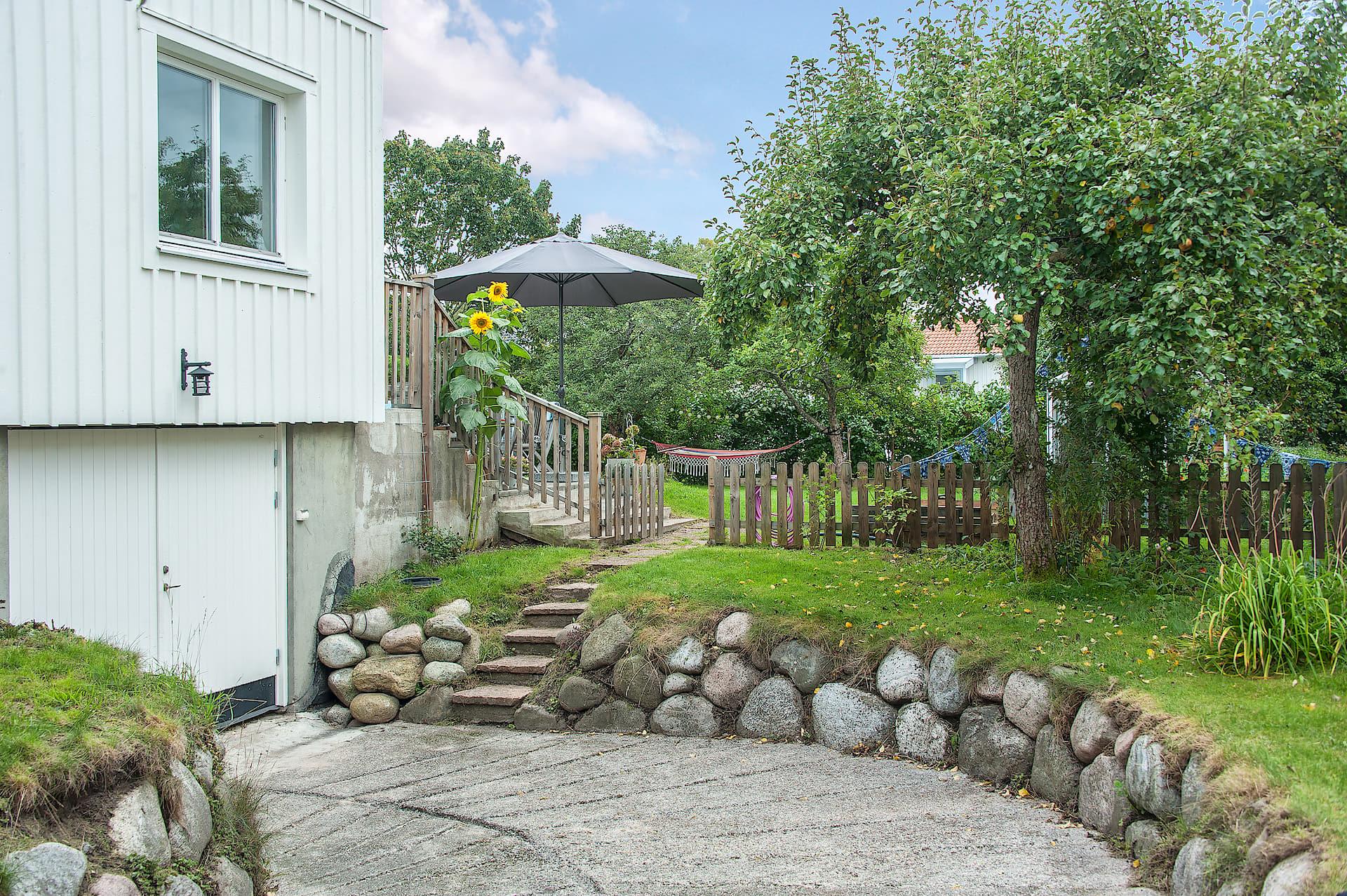 загородный дом участок ландшафт газон отмостка забор