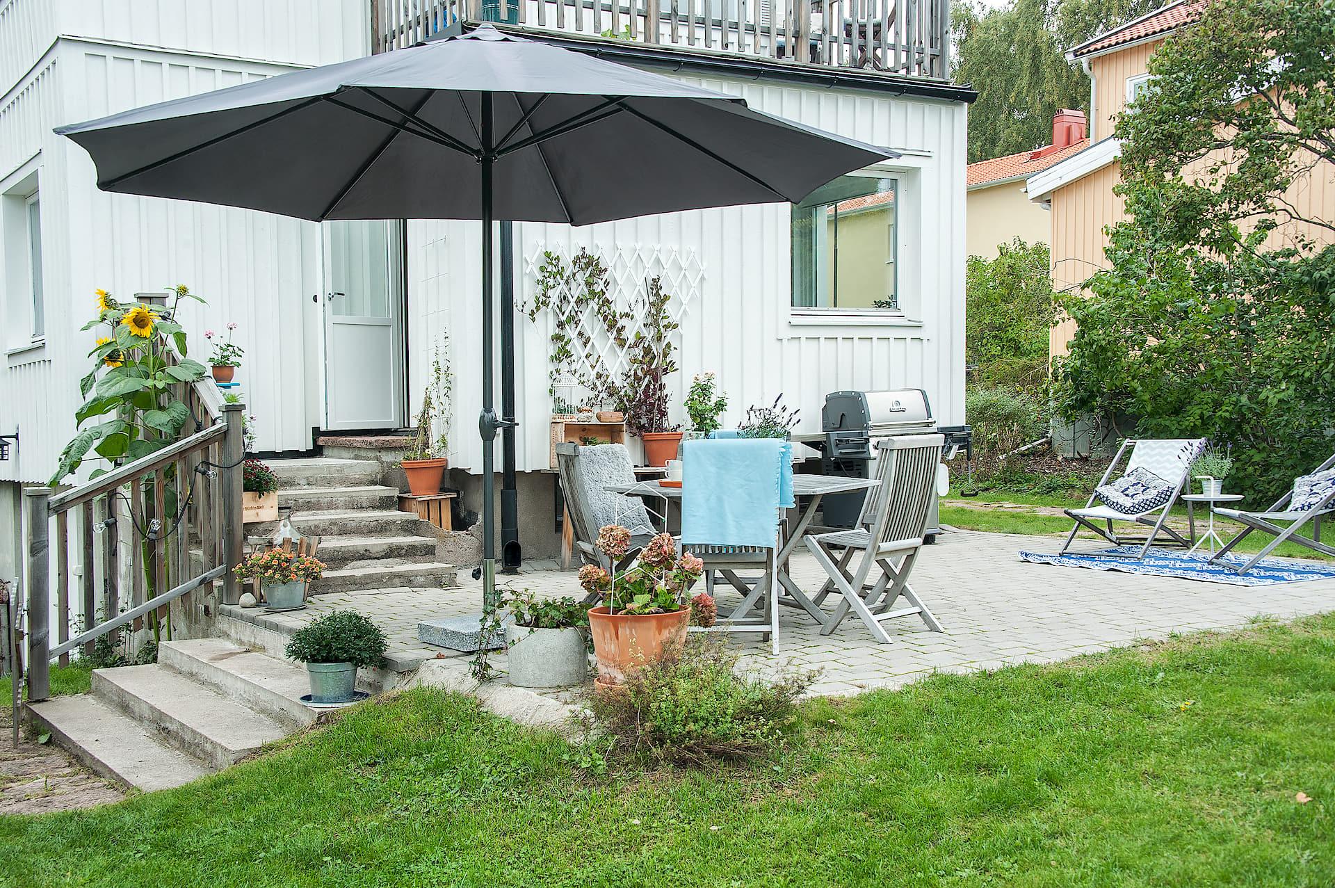 терраса уличная мебель зонт гриль газон