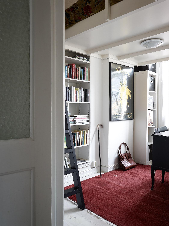 кабинет стеллаж книги лесенка антресоли