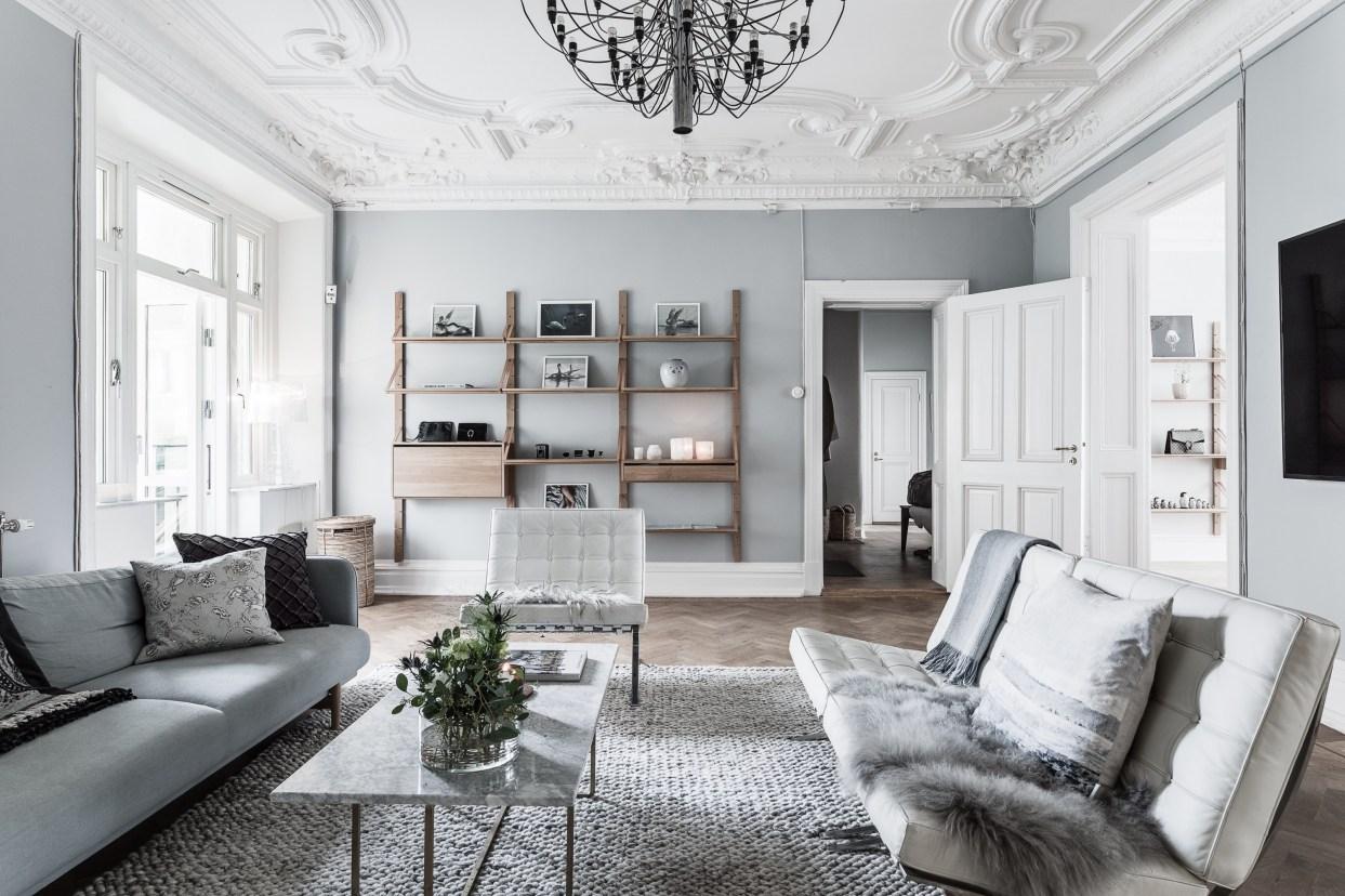 гостиная потолок лепнина