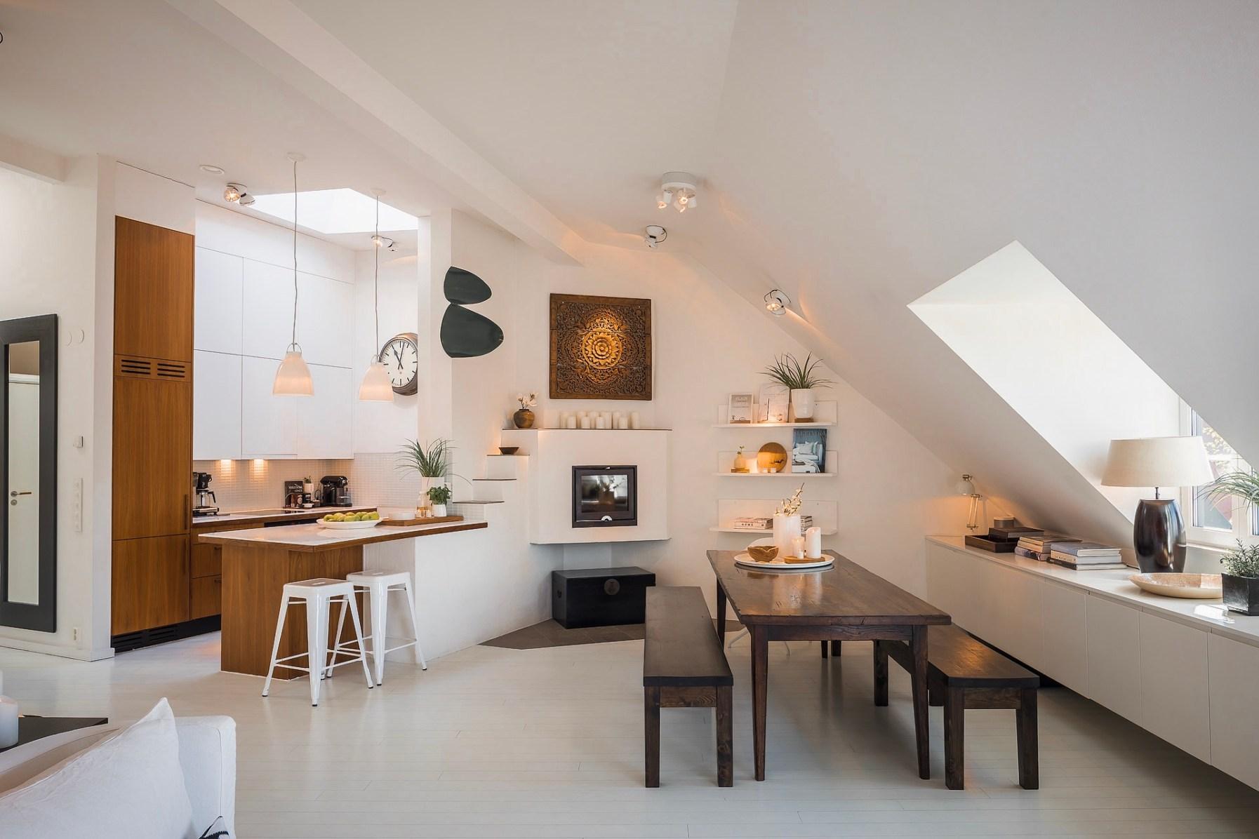 мансарда кухня столовая