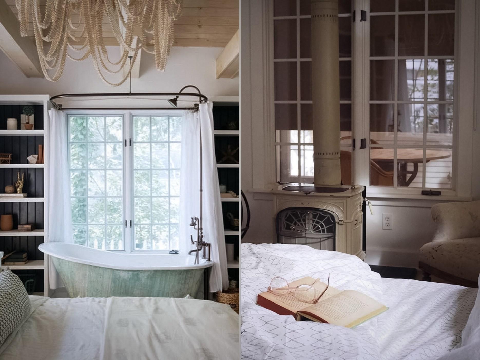 спальня с ванной и печкой