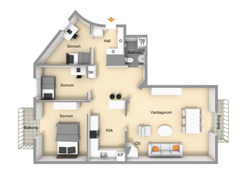 квартира 89 квм планировка 2