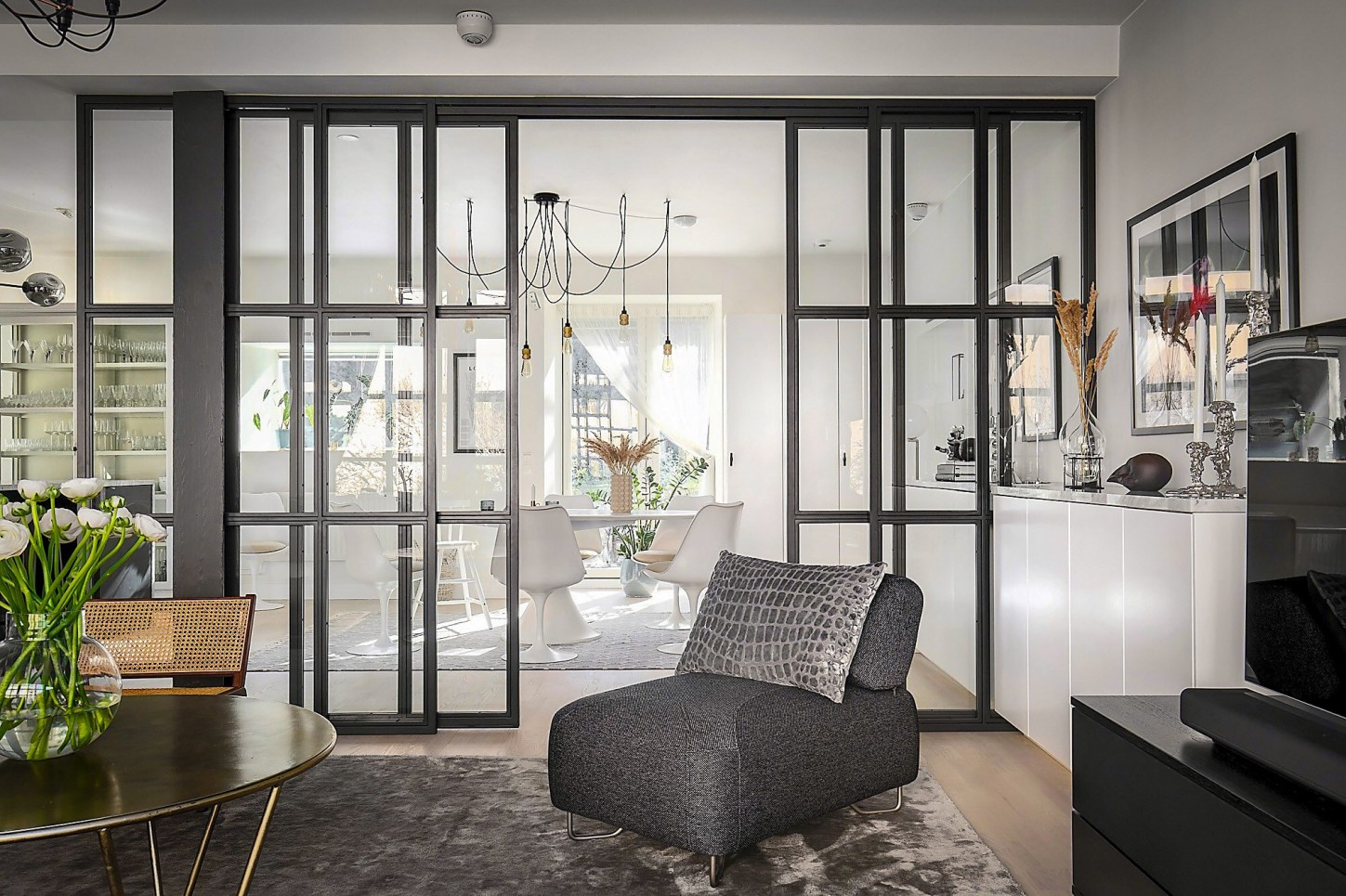 living room glass partition