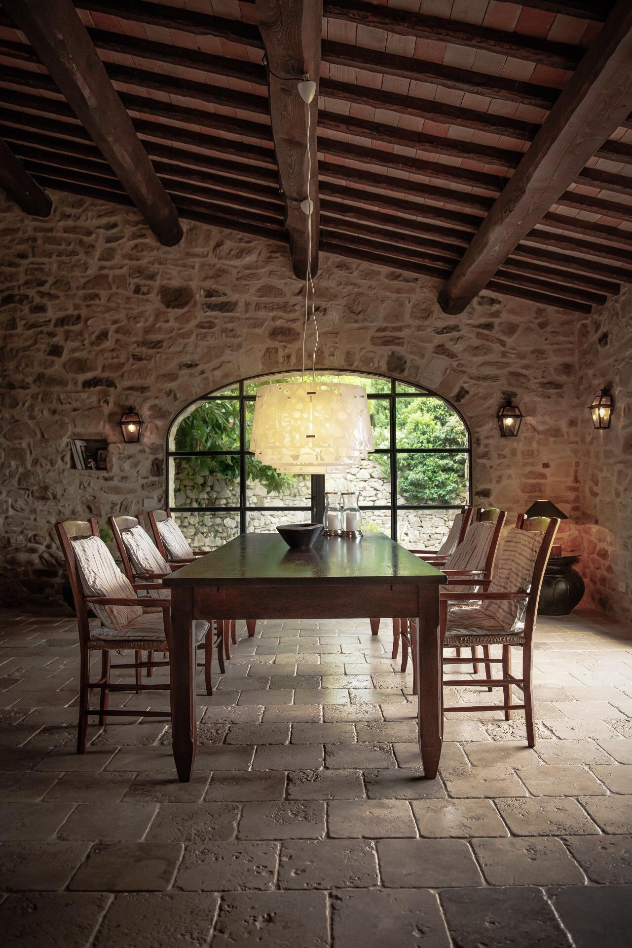 stone veranda ceiling beams
