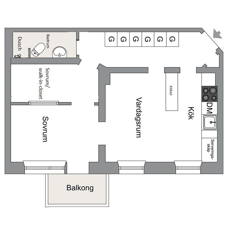 69 sqm apartment floor plan