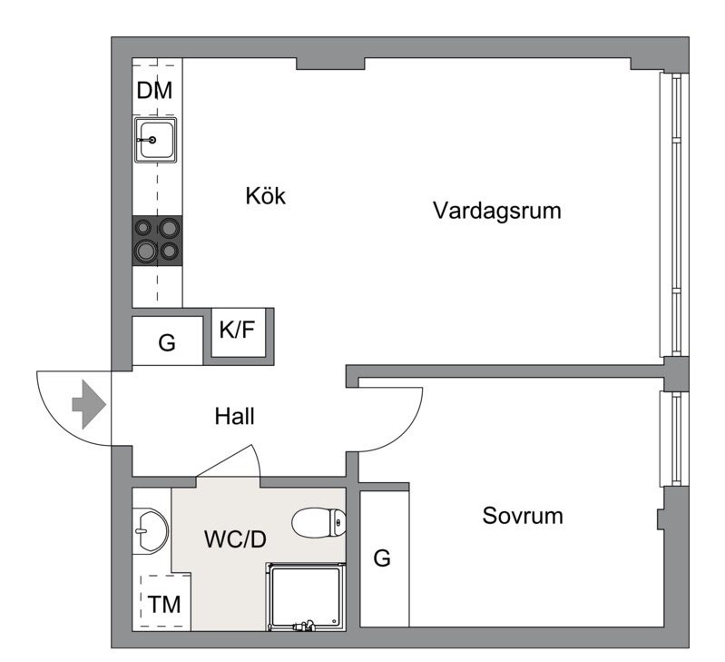 43 sqm apartment floor plan