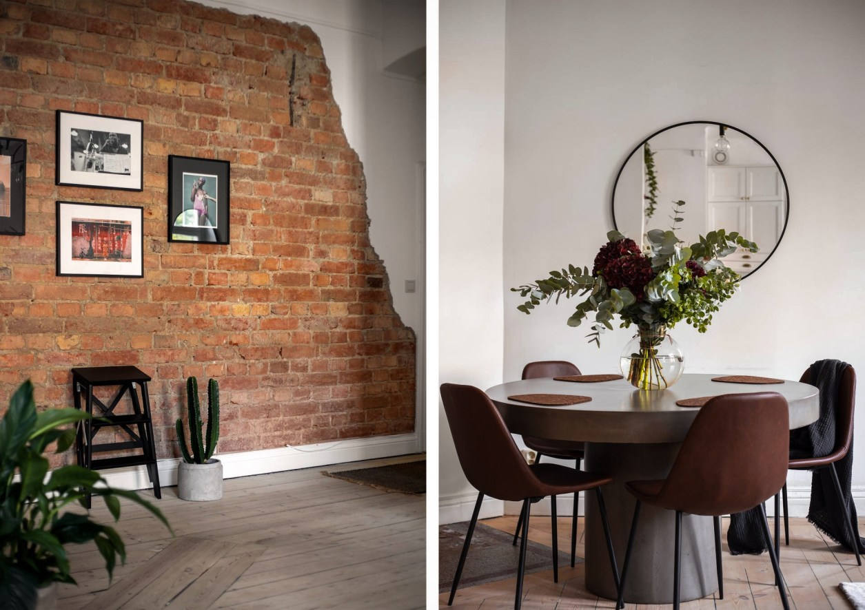 brick wall round dining table