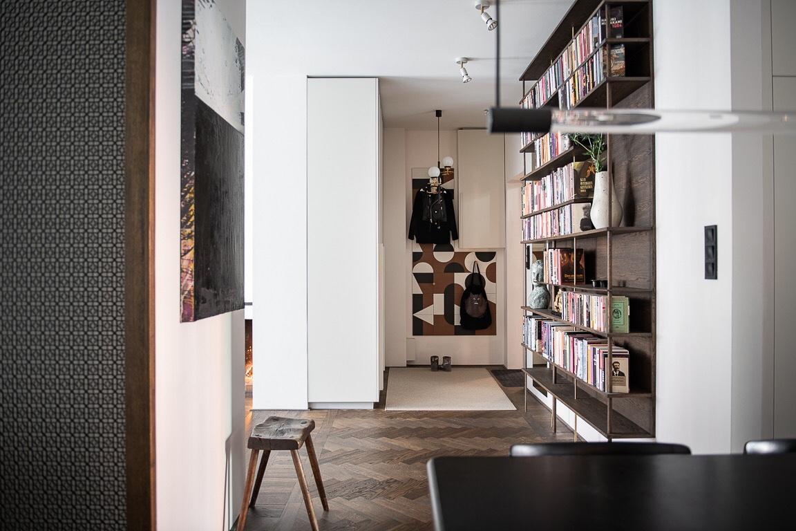 hall books shelves