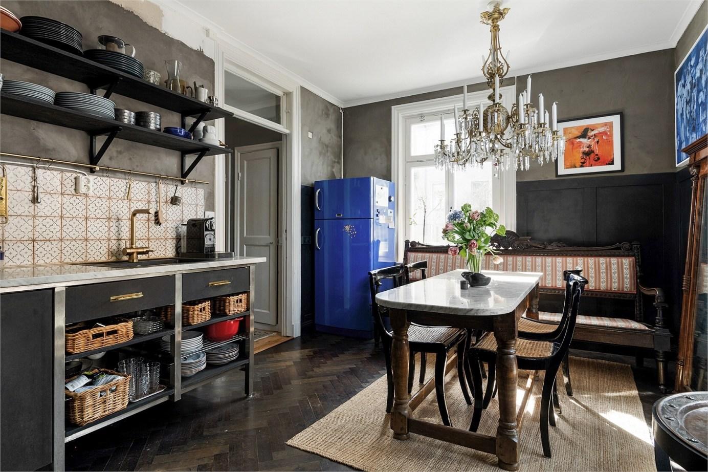 kitchen blue fridge
