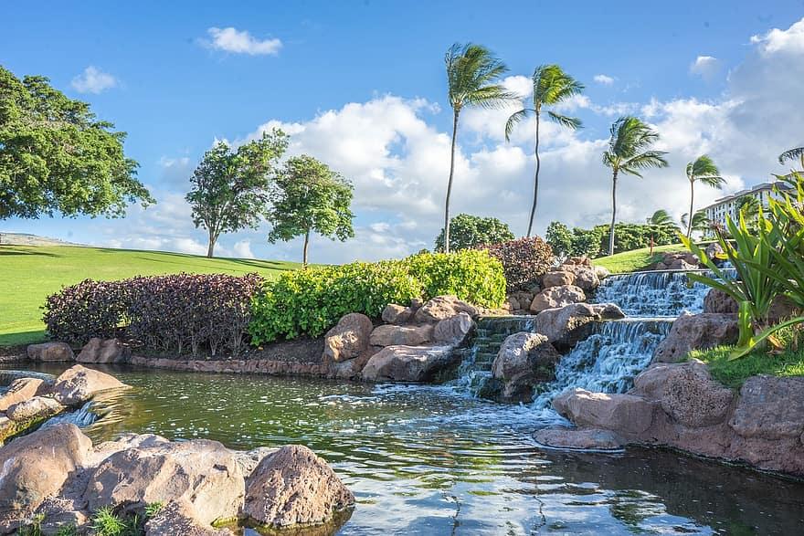 hawaii oahu waterfall rocks ko olina pond palm trees water landscape 1