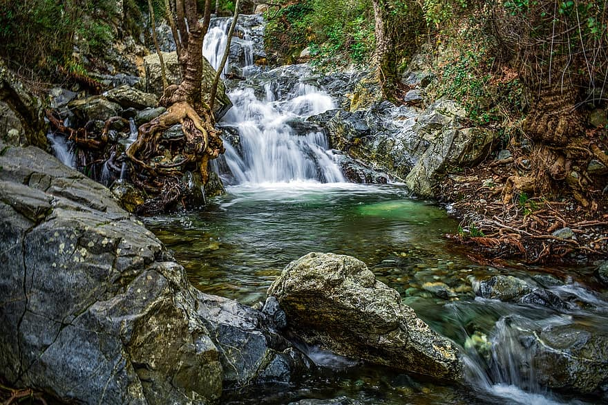 waterfall water nature river pond scenic scenery fall chantara falls