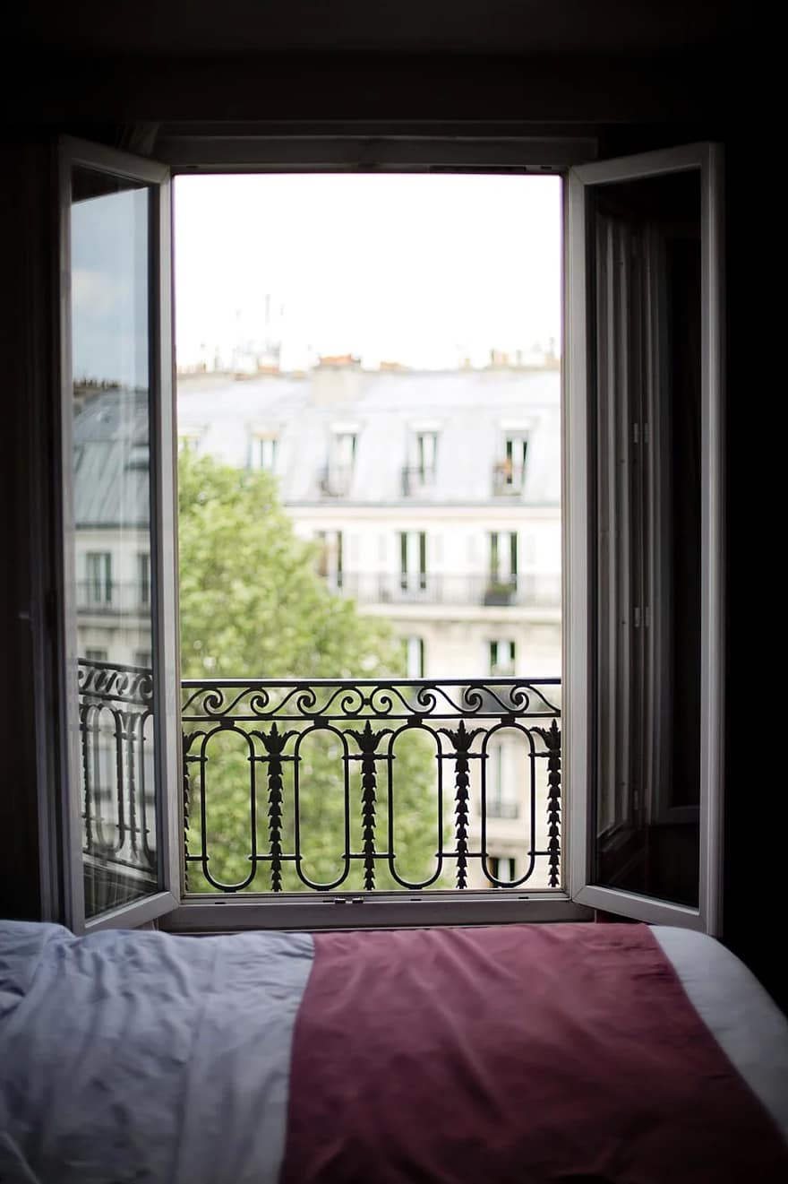 bedroom window france interior paris europe bed hotel house architecture