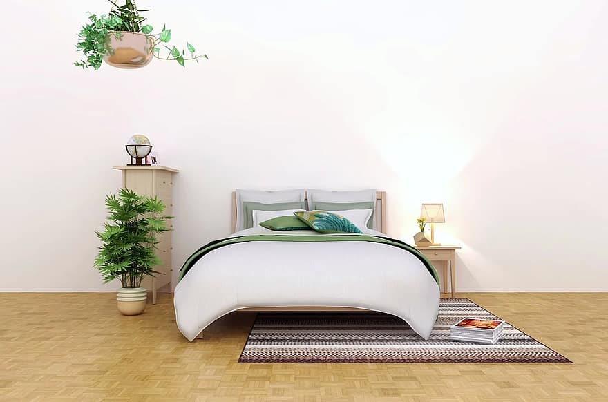 interior bedroom lifestyle furniture bed room decor plant comfortable