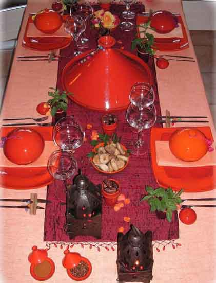 Marrakesh Pink Orange Table Decoration In Moroccan Style