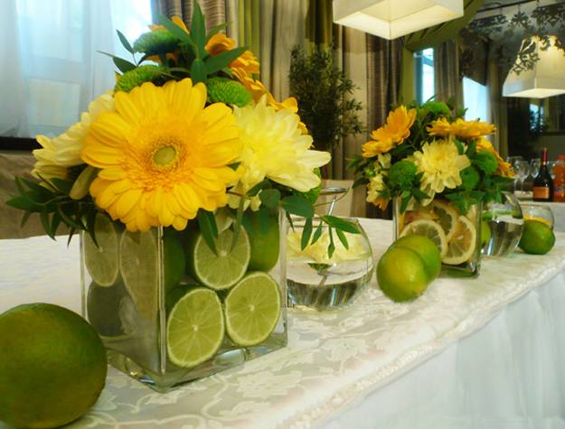 Centerpieces Limes And Flowers