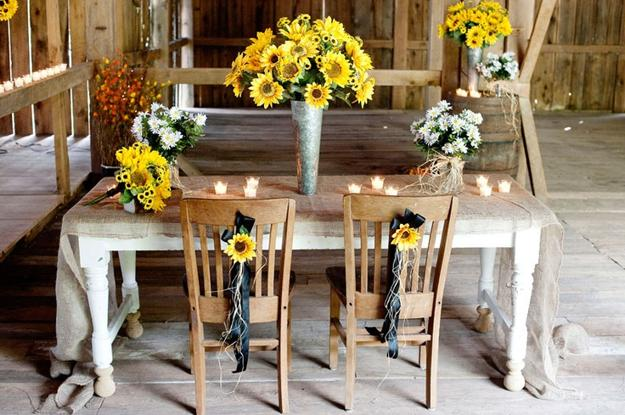 30 Sunflowers Table Centerpieces Adding Sunny Yellow Color to Table     Sunflower table centerpieces and decorating ideas  Beautiful sun flowers  and candle centerpieces for table decoration