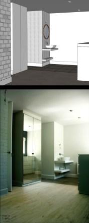 REFORMA INTEGRAL VIVENDA. decoraCCion.wordpress.com dormitorio en suite con lavabo visto