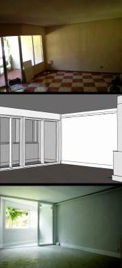 reforma salón. Antes, proyecto y después