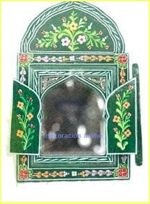 Espejo de madera pintada marroquí andalusi