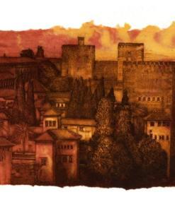 Grabado pintura Alhambra II, José Manuel Peña