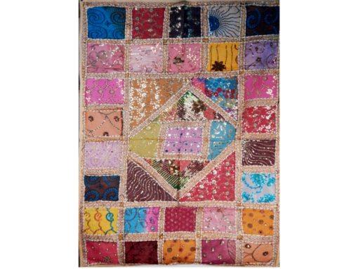 tapiz India blanco patchwork