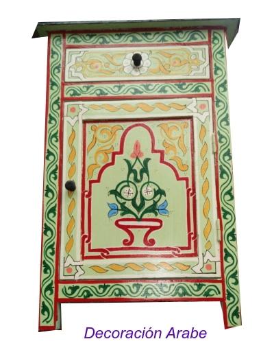 mesita de noche árabe madera pintada