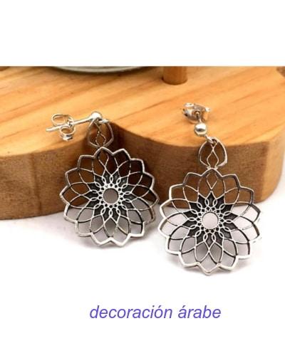 pendientes plata árabes flor del Sahara