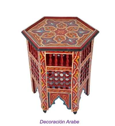 mesa decorativa árabemadera pintada