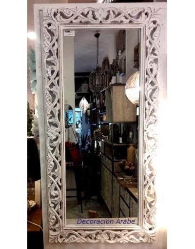 espejo madera floral blanco
