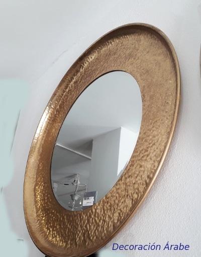 espejo redondo metálico dorado