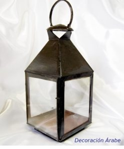 farol porta velas de forja y cristal
