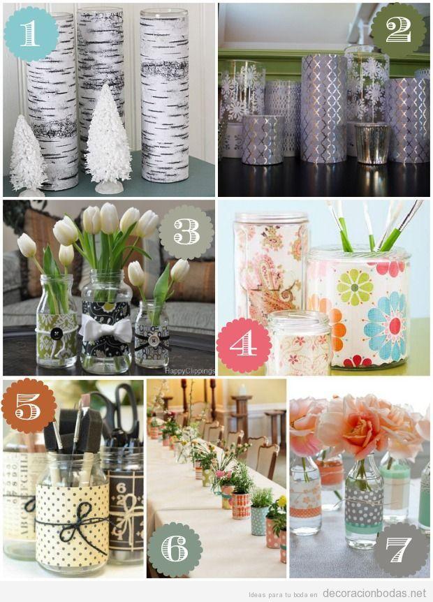 ideas de jarrones y centros de mesa para bodas diy
