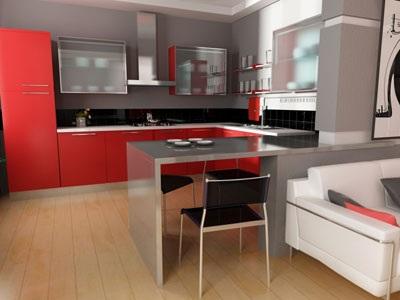 Cocinas modernas color rojo - Cocinas color rojo ...