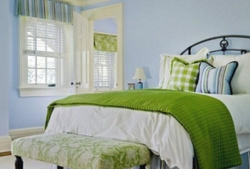 dormitorio verde y celeste