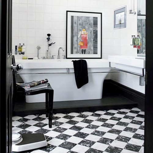 black and white bathroom with chess floors