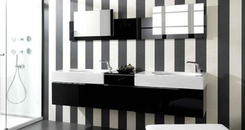 bathroom with black and white striped walls