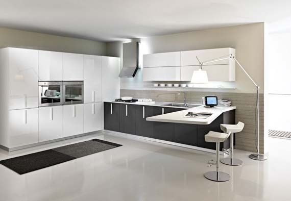 cocinas en l modernas Hermosas Cocinas En Color Blanco Y Negro