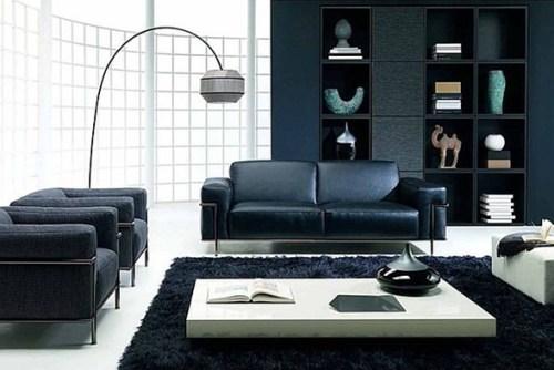 sala con sofas color negro