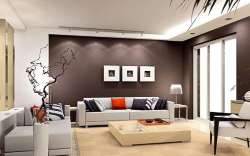 modern living room brown wall